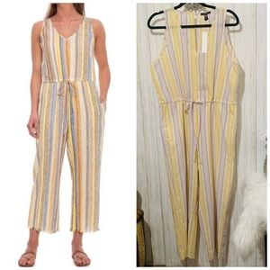 DREW by Anthropologie Linen Striped Jumpsuit Large